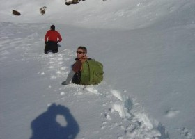 9-6-12 - Paul and Cam making their way through deep snow on the access road