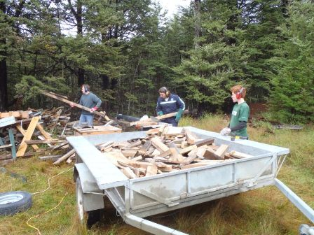 Cutting up the remains of Middle Hut for Firewood